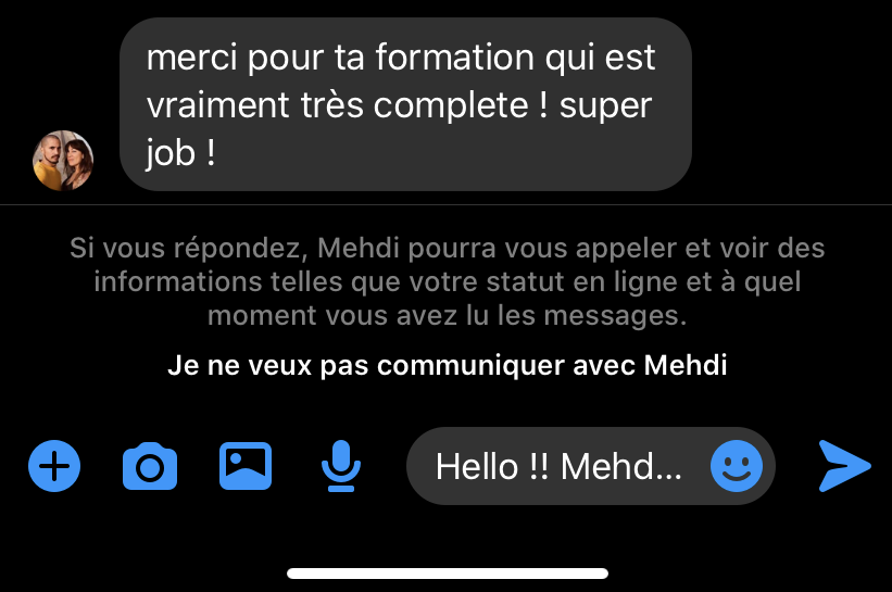 Message de Mehdi sur le programme MLM Attraction Formula